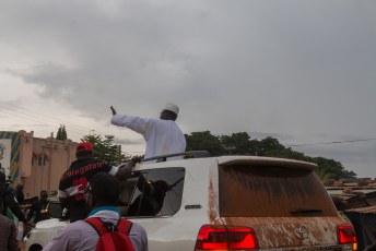 In Sikasso vlak voor de grens met Burkina Faso, voerde Cissé campagne om de nieuwe president te worden. Is niet gelukt.