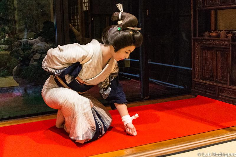 Geigi bailando en Aizu-Wakamatsu