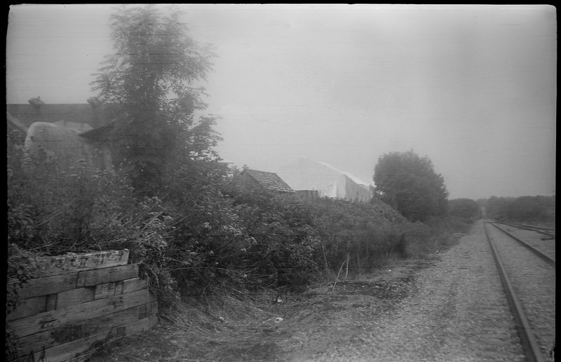 boatyard, railroad tracks, Thomaston, Maine, Beier Beirex, Arista.Edu 200, Ilford Ilfosol 3 developer, mid-August 2018