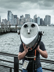 Admiring the view. Liberty Island. (Unposed)