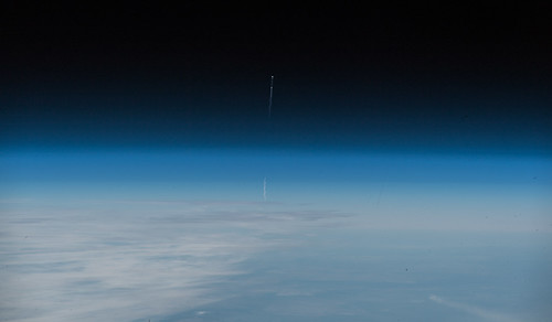 Image of the Soyuz MS-10 launch as seen from the International Space Station