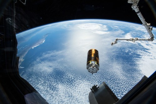 Japan's HTV-7 resupply ship is pictured after it was released from the grips of the Canadarm2