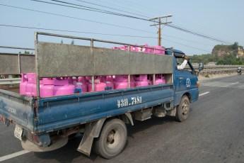 Gastransport in Blau und Rosa