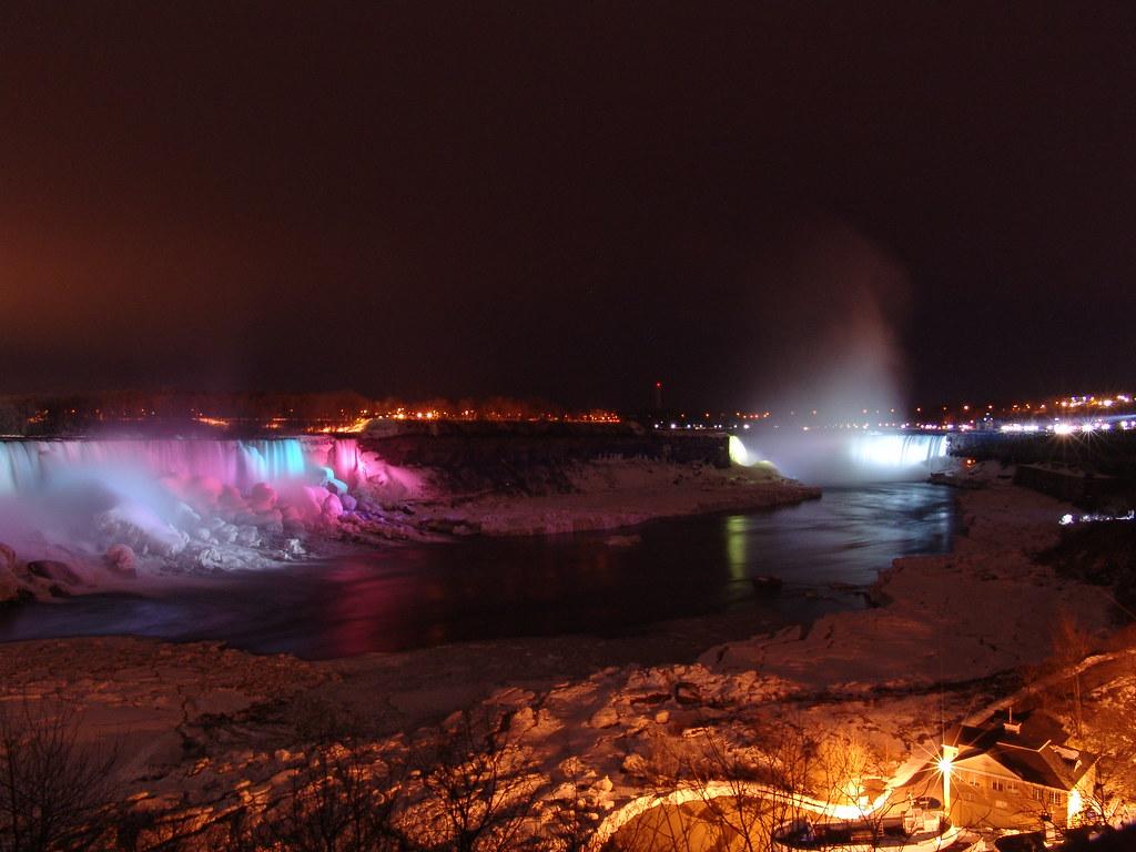 Niagara Falls With Color Lights