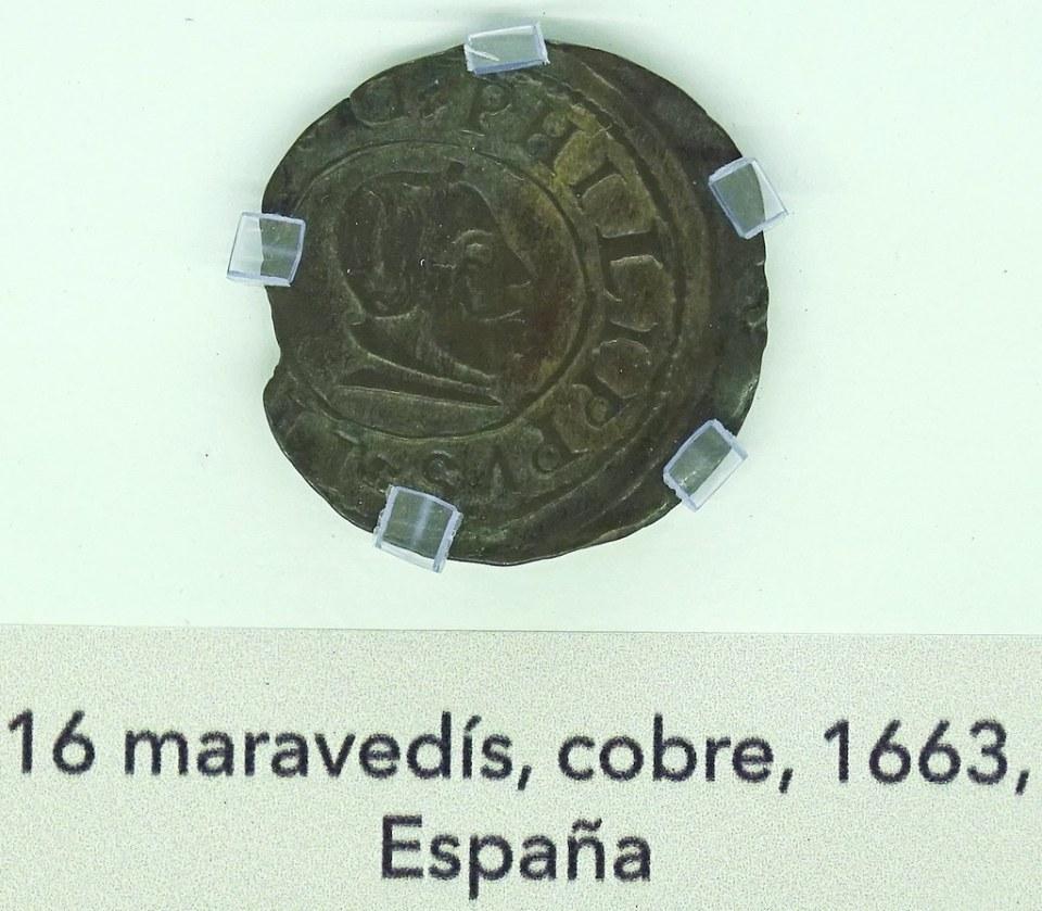 1663 16 maravedis cobre España Moneda Siglo XVII Museo Numismatica Banco Central San Jose Costa Rica 03