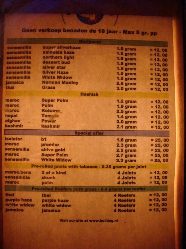 the bulldog coffeeshop menu | amsterdam (netherlands) | flickr