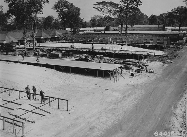 Building Quonset Huts, 1945