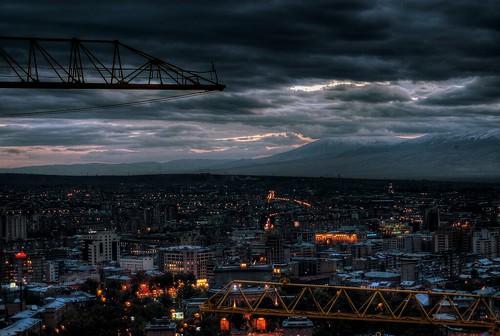 Stormy Yerevan and Ararat