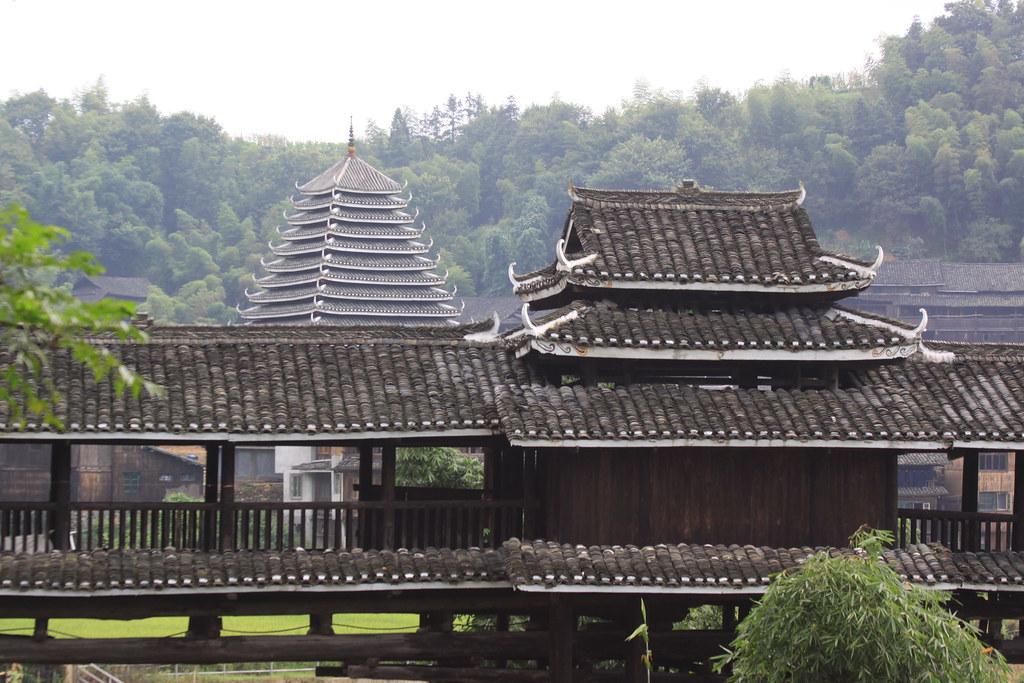 Dong drum tower behind wind and rain bridge