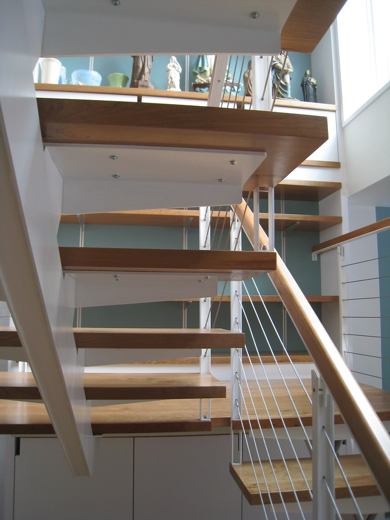 Stair Switchback Custom Steel Stair With Cherry Wood Tread… Flickr | Steel Stairs With Wood Treads | Wooden Stair | Glass | Exterior | Pine Wood Tread | Typical