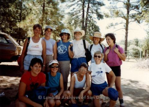 P008.044m.r.t Mt. Laguna 1983: Group photo with Aida, Margaret Lewis, Diane F. Germain, Mary Revere, Diane Hammer, Lauri, Sharon, Ann, and Marcie
