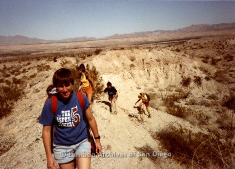 P008.084m.r.t Anza-Borrego Desert 1984: Hikers climbing out of the canyon