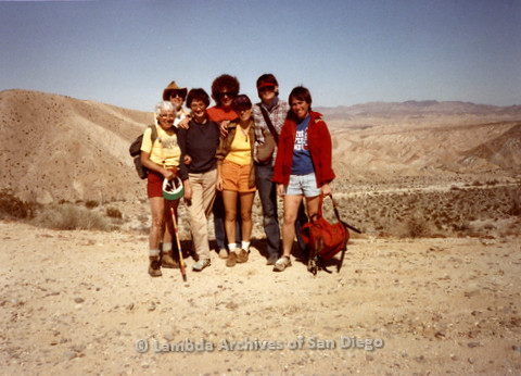P008.077m.r.t Anza-Borrego Desert 1984: Canyon Sin Nombre group photo with Margaret Lewis, Sandy Johnson and others