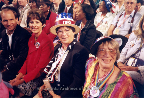 P338.031m.r.t 2000 Democratic National Convention Los Angeles: (L to R) Gerry Senda, unknown woman, Joanne Climie, and Gloria Johnson sitting in audience
