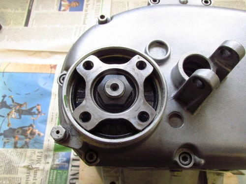 Transmission Output Flange Has Four Legs with Tapped Holes
