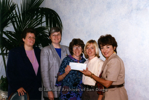 P237.005m.r.t Center Events: five women holding check, Christine Kehoe (second left), Karen Marshall (center)