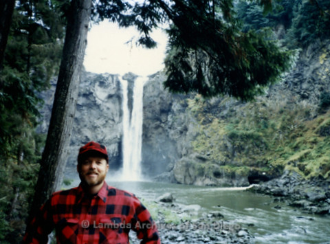 P338.071m.r.t Charles McKain standing in front of the Snoqualmie Falls in Washington