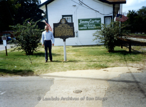 P338.053m.r.t Charles McKain standing in front of the Jimmy Carter Presidential Campaign Headquarters