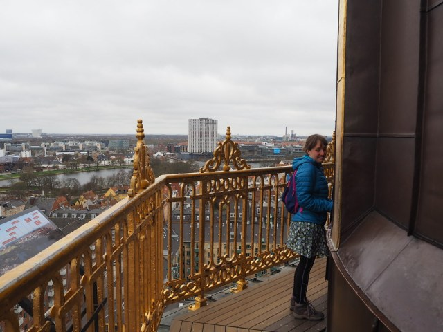 The viewing platform at the base of the external staircase