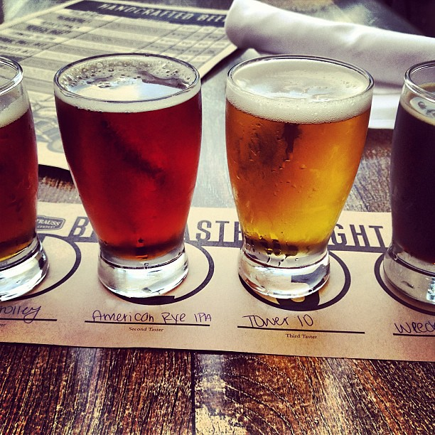 Sampling excellent fermented beverages in La Jolla, CA.  #beer #microbrew #karlstrauss