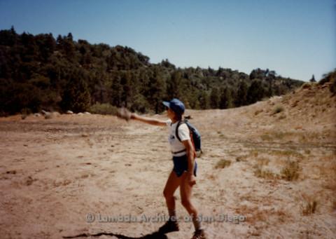 P008.052m.r.t Mt. Laguna 1983: Diane F. Germain throwing a cowpie