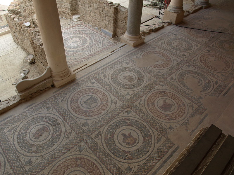 Floor bordering the inner courtyard of the villa