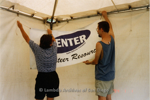 P018.160m.r.t San Diego Pride Festival 1998: setting up Center tent