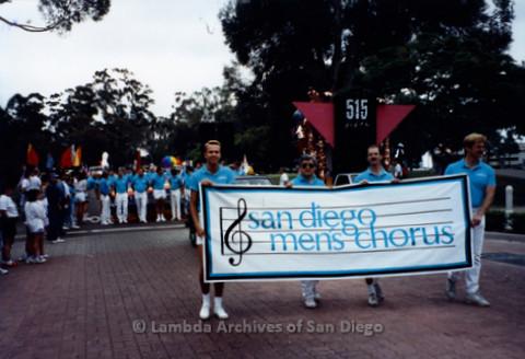 San Diego LGBTQ Pride Parade, July 1995: San Diego Men's Chorus holding their banner