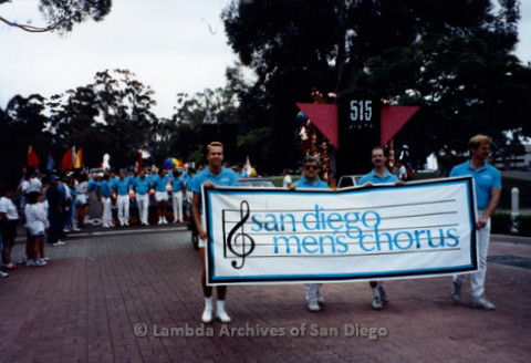 San Diego LGBTQ Pride Parade, July 1995: San Diego Men's Chorus holding their banner