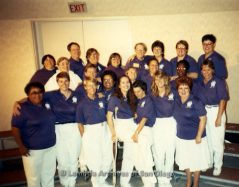 """""""The Magic Music Makes"""" San Diego Women's Chorus (SDWC) first choral festival with Sister Singers 1991: SDWC group photo, including Conductor, Cynthia Lawrence Wallace (Front far left), Jill Waters (front 2nd right), Luisa de Jesus (center, center left),"""