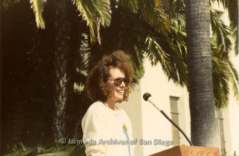 P116.014m.r.t San Diego Walks For Life 1986: Beth Howland speaking at podium outside
