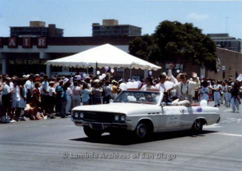 P018.016m.r.t San Diego Pride Parade 1988: Man and Woman of the Year car