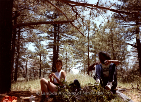 P008.088m.r.t Laguna Mountains 1984: Two women sitting in the woods