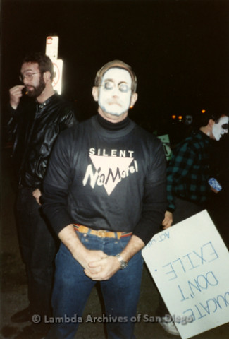 "P019.331m.r.t Los Angeles ""Die In"" 1988:  Jess Jessop (center) with skull face paint and t-shirt that reads: ""SILENT NO MORE"""