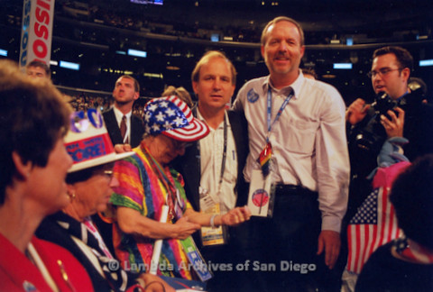 P338.027m.r.t 2000 Democratic National Convention Los Angeles: Gerry Senda (third from left) and Charles McKain (second from right) on the convention floor