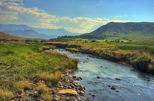 river in the mountains a landscape of the drakensberg mountains kwazulunatal south africa processed in hdr