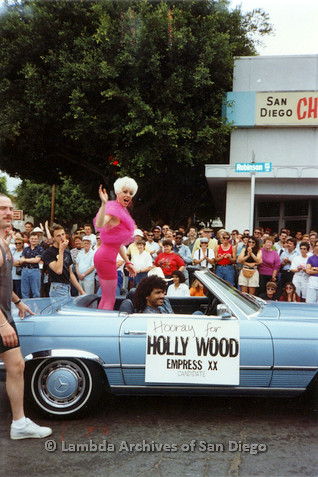 P018.085m.r.t San Diego Pride Parade 1991: Hollywood Empress XX candidate's car