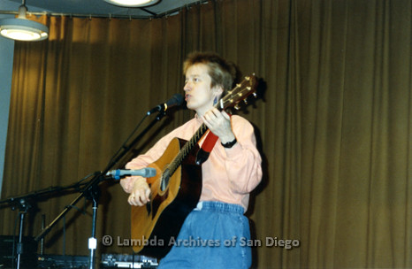 Judy Fjell Performing on stage at a San Diego Shirtails Women Only Dance.