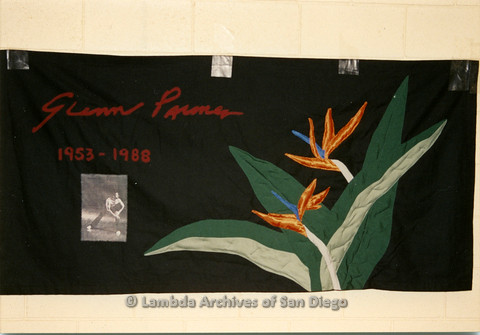 P019.025m.r.t AIDS Quilt at San Diego Golden Hall 1988: Bird of Paradise decorated black quilt dedicated to Glenn Palmer (?)