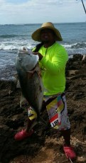 """36 lbs white [Ulua] at secret spot haha"""