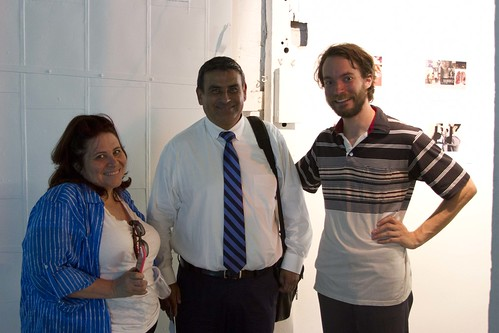 Newcomers School teacher Anne Kornfeld, principal Orlando Sarmiento and Flux Factory executive director Nat Roe