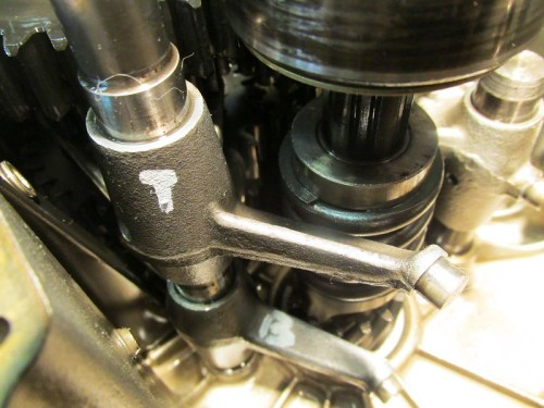 "Marking Output Shaft Shift Forks ""T""-Top, ""B""-Bottom"