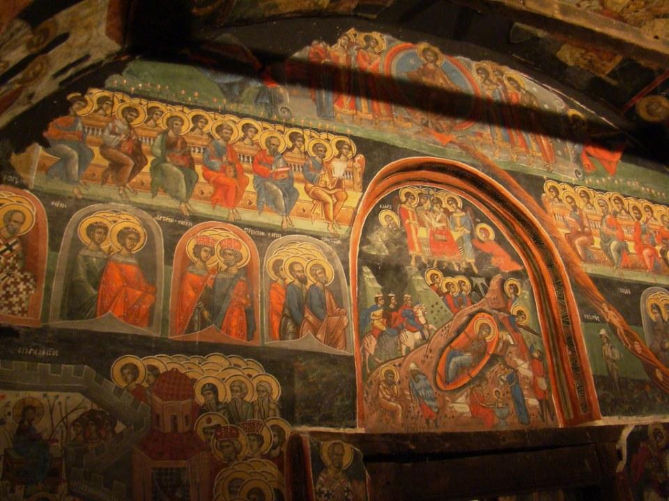 pintura mural al fresco interior Iglesia de la Natividad de Cristo Arbanassi Bulgaria 13
