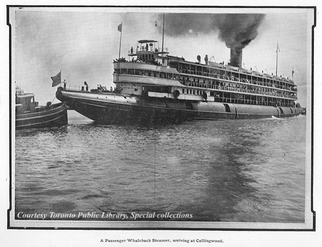 A passenger Whaleback Steamer, arriving at Collingwood, Ontario, Canada (1904)