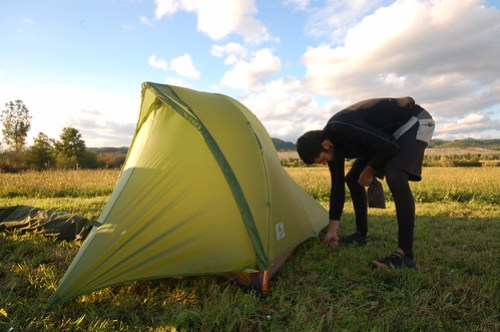 Andy puts up his tent in Romania