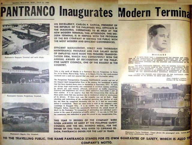 1960 July 11 New Pantranco terminal