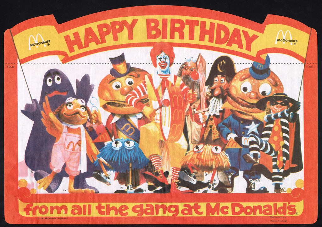 Mcdonalds Placemat Happy Birthday From All The Mcdonaldl Flickr