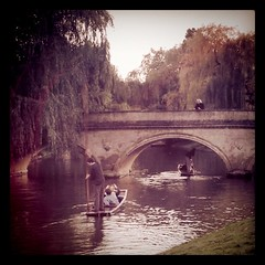 Punting along the canals in Cambridge, England