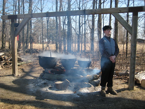 Boiling down maple syrup