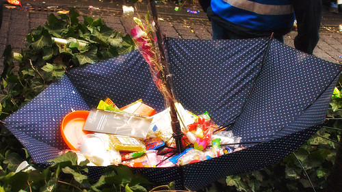 an umbrella to catch sweets with